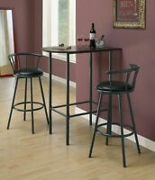 "HOME BAR - 24""X 36""/ CAPPUCCINO / BLACK METAL SPACESAVER BAR TABLE"