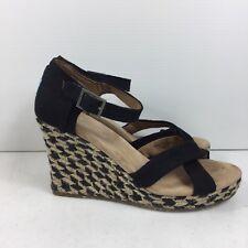 9834c811c22 New ListingTOMS Canvas Wedge Espadrille Platform Sandal Wedges Heels Black  Size 8