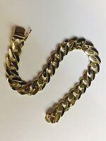 "18k Solid Yellow Gold HEAVY Handmade Curb Link mens Bracelet 9.5"" 62 grams 11MM"