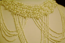 Black Ribbon Necklace 1980' Beautiful Pearl Around The Neck