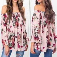 Sexy Fashion Women Floral Print Tops Off Shoulder Flare Sleeve Shirt Blouse New