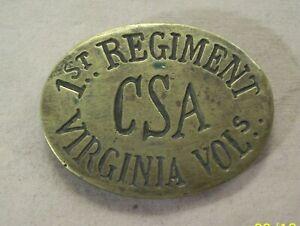 ~CIVIL WAR~CSA BELT BUCKLE~VIRGINIA VOLS 1ST REGIMENT~CONFEDERATE STATES AMERICA