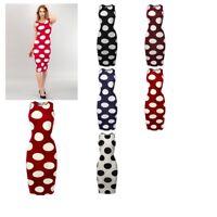 FashionOutfit Women's Premium Stretch Fabric Polka Dot Body-Con Tank Midi Dress