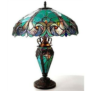 """Stained Glass Lamp Tiffany Style Victorian Turquoise 18"""" Shade Lit Base 24"""" Tall"""