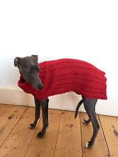 Cable Knit Dog Jumper Red Size L Whippet,Lurcher,Italian Greyhound