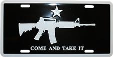 "Come and Take it M4 Machine Gun 6""x12"" Aluminum License Plate Tag (Black)"