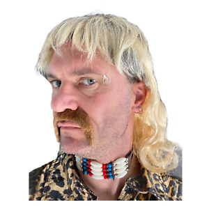 Blond Mullet Wig & Brown Moustache Costume Accessory Joe Exotic Tiger TV Baskin