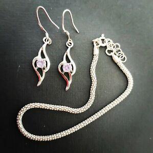925 Solid Sterling Silver Celtic purple amethyst knot Earrings & Bracelet set