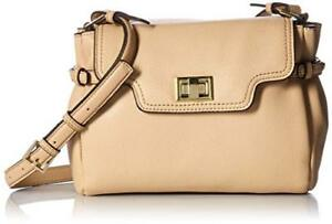 Calvin Klein Ashley Pebbled Leather Crossbody Bag Nude, MSRP $198