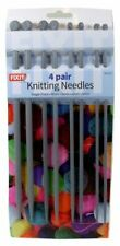 4 PAIRS KNITTING NEEDLES SINGLE POINT PLASTIC 25CM LONG 4/5/6/8MM THICKNESS