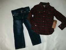 TRUE RELIGION 2 pc Outfit Plaid Flannel Shirt & JEANS Set BOYS 24 Months 24M NEW