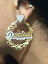 14K Gold Overlay Personalized Hoop Name XOXO Earrings 2 1/4 inches /#THIN