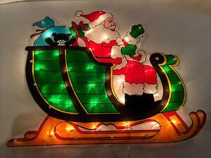 "17 X 14"" Lighted Santa Window Silhouette Wall Decoration Light Sculpture"