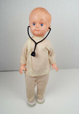 "Vintage Celluloid Doll Boy Doctor 11"" Hong Kong Original Clothes Stethsoscope"