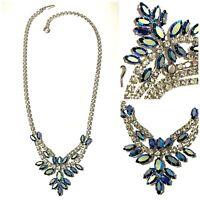 "Vintage AB Aurora Borealis Crystal Rhinestone Necklace Signed B David 18"""