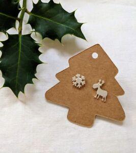 Christmas Earrings reindeer snowflake studs,silver,gold,rose gold FREE POSTAGE
