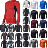 Men Compression Under Thermal Shirt Base Layer Sport Top Long Sleeve Gym Skinny
