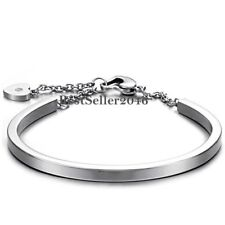 Stainless Steel Heart Charm Cuff Bangle Bracelet Birthday Gifts for Girlfriend