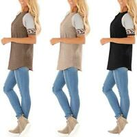 Womens Leopard Striped Short Sleeve T Shirt Ladies Casual Loose Blouse Tops