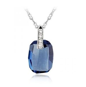 Sapphire Blue18K White Gold filled Necklace