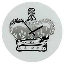 Premier Housewares Wall Clock, Glass, Crown with Diamantes, Modern Design
