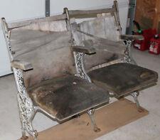 Antique folding theater seats ORNATE CAST IRON 2 seats w/rack DIY EASY RESTORE