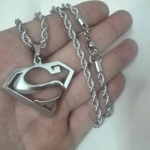 Men's charm Superman logo Stainless Steel pendant and Rope chain nice gift