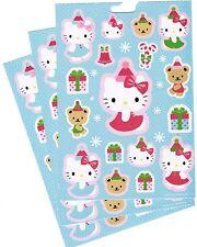 Sanrio Hello Kitty Christmas Xmas Hat Winter Snow Stickers 3 Sheets! Blue!