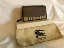 Burberry Horseferry Check Leather Zip-around Tan Wallet