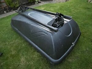 Grey Roof Box for Car with attachable bars