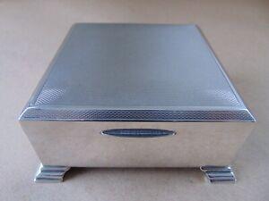 EXCELLENT SMART ART DECO STERLING SILVER JEWELLERY / CIGARETTE BOX 1968