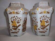 Vintage Chinese Porcelain VASE Pagoda Phoenix Birds Flowers BROWN Yellow