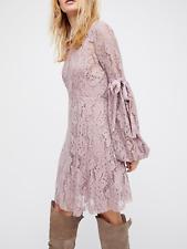 $128 FREE PEOPLE WOMEN'S LILAC CROCHET LACE LONG SLEEVE RUBY DRESS Sz L