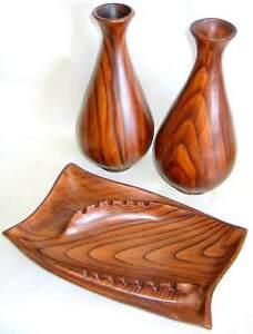 California Pottery Woodgrain 3 pc Set VASES ASHTRAY ORIG MID CENTURY FREE SH