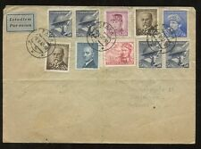 CZECHOSLOVAKIA 1947 AIRMAIL COVER...OPAVA...10 STAMP FRANKING to DENMARK
