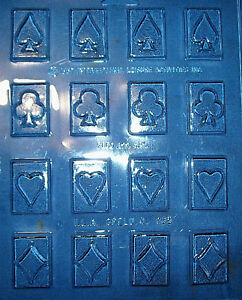 16 SMALL RECTANGLE SHAPES WITH DIFFERENT PLAYING CARD SYMBOLS CHOCOLATE MOULD