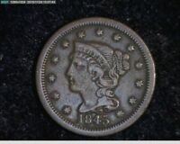 1845  Braided Hair Large Cent 1c old penny ( 4s137 )