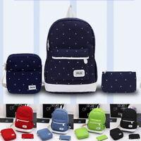 3Pcs Unisex Women Men Canvas School Backpack Rucksack Shoulder Bag Travel Bag 34