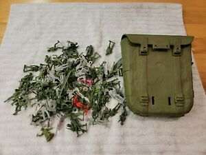 Vintage Louis Marx 1960s Army Men Soldiers American German Grey Green MPC