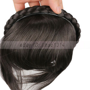 Women's Hair Bangs with a Braided Hairband Straight Sides Long Flat Fringes EASY