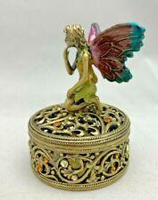 """Brass Fairy Trinket Box w/ Rhinestones 2.5"""" Tall Beautiful!"""