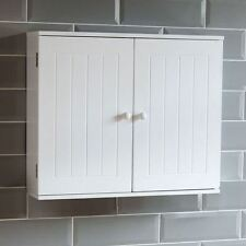 Bathroom Wall Cabinet Double Door Storage Cupboard Wooden White By Home