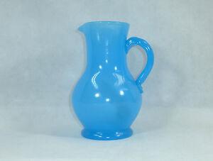 Big Seltene Biedermeier Jug about 1830 Bohemia Opaline Glass Opal Glass