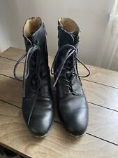 Frye Sabrina Leather Boots Heel ~ Black ~ Size 8 M