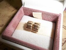 Genuine Authentic Pandora 14ct Gold Ribbed Clip Charms PAIR 750118 585 ALE