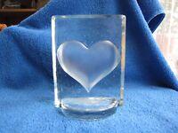 Sweden Art Glass frost paperweight Heart Love pukeberg Kosta