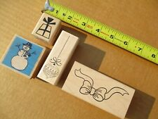 Snowman, Bow, Ornament, Present, 4 Wonderful Christmas Rubber Stamps