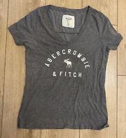 Abercrombie & Fitch Women's T Shirt Grey Medium Cotton Blend S/S