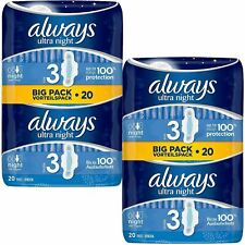 Always Ultra Night Sanitary Towels Pads Size 3 Wings Womens Absorbent Pack of 40