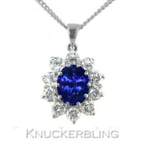 1.50ct Sapphire and F VS Diamond Cluster Pendant in 18ct White Gold with Chain